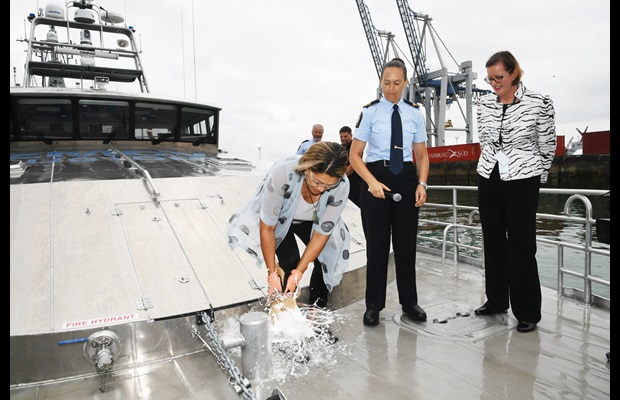NEW ZEALAND : New Zealand Customs Minister Meka Whaitiri smashes a bottle of champagne to commission the brand new 'Hawk V' patrol vessel.
