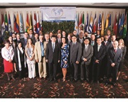 The Secretary General of the WCO, Kunio Mikuriya, surrounded by delegates attending the XVIth Regional Conference of Customs Directors General of the Americas and Caribbean Region
