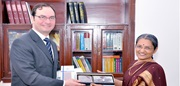 WCO Deputy Secretary General Sergio Mujica in the company of Ms. J. M. Shantisundaram, Chairperson of the CBEC, India