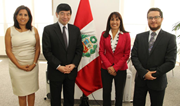 From left to right: Ms. Tania Quispe Mansilla, Superintendente of SUNAT; Mr. Kunio Mikuriya, WCO Secretary General; Ms. Magali Silva Velarde-Alvarez, Peru's Minister of Foreign Trade and Tourism; Mr. Edgar Vasquez Vela, Peru's Vice-Minister of Foreign Trade