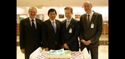 From left to right: Former Chairperson of the WCO Finance Committee Robert Lüssi of Switzerland, WCO Secretary General and former Chairperson of the Finance Committee Kunio Mikuriya, current Chairperson of the Finance Committee William Williamson of the United Kingdom and Former Chairperson of the Finance Committee Thomas Schöneck of Germany