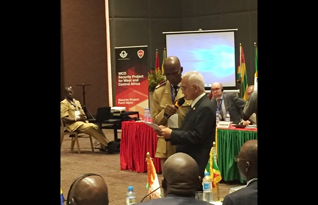H.E. Mr. Hisanobu Hasama, Ambassador, Embassy of Japan in Guinea, delivering his opening remarks