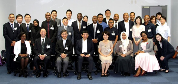 WCO Scretary General Dr. Kunio Mikuriya with the WCO scholars following the Master's degree programme in Public Finance at the GRIPS, and in Strategic Management and Intellectual Property Rights at AGU, Tokyo, Japan