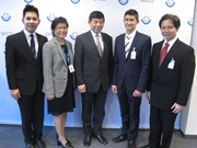 Secretary General Kunio Mikuriya (in the middle), Ambassador Nopadol Gunavibool (far right) and Thaï Embassy officials.