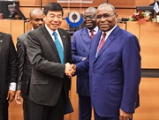 H.E. Ambassador of the Republic of the Congo Léon Raphaël Mokoko, and WCO Secretary General Dr. Kunio Mikuriya at the depositing ceremony of the Congo's accession instrument to the RKC on 14 December 2017