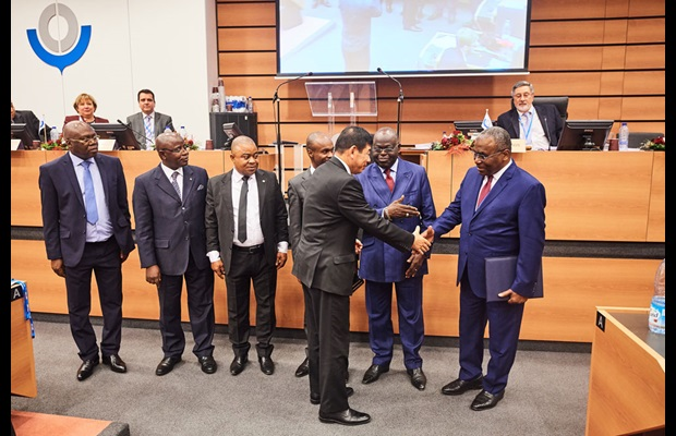 WCO Secretary General Dr. Kunio Mikuriya, H.E. Ambassador of the Republic of the Congo Léon Raphaël Mokoko, and the Congolese Delegation at the depositing ceremony of the Congo's accession instrument to the RKC on 14 December 2017