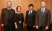 [From r. to l.:] Mr. Sigurður Skúli Bergsson, Deputy Director General of Iceland Customs; Mr. Kunio Mikuriya, WCO Secretary General; Ms. Sigfríður Gunnlaugsdóttir, International Affairs Manager, Iceland Customs; And Mr. Snorri Olsen, former Director General and, currently, Director, Internal Revenue, Iceland Customs