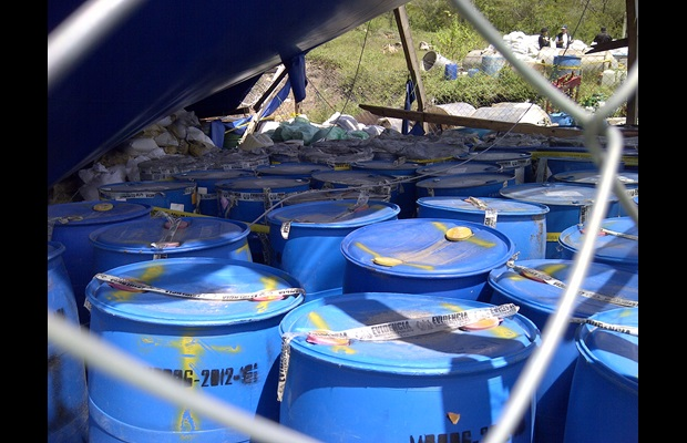 Seized chemicals at a storage facility, Guatemala