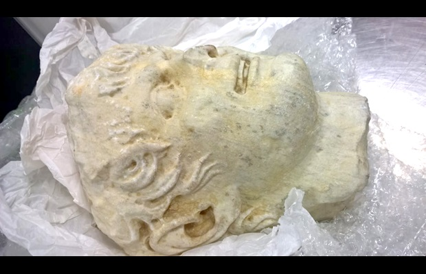 Brazilian Customs seized a marble head hidden in a passenger's suitcase