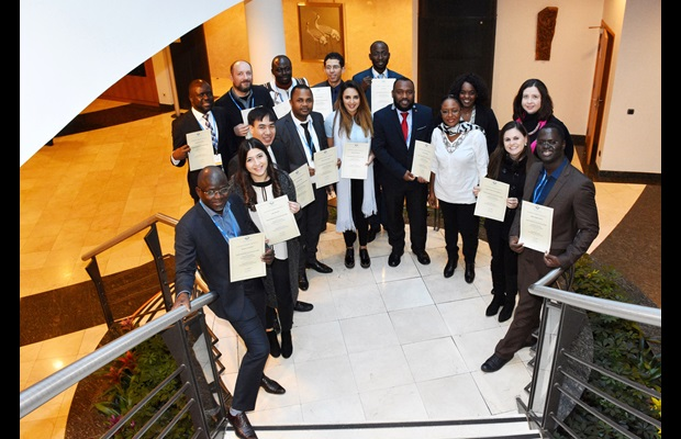 The Fellows with their certificates at the closing ceremony