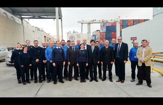 WCO Secretary General with the Container Monitoring Unit at Malta Freeport Terminals