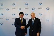 The Head of Secretariat of the WHO Framework Convention on Tobacco Control, Dr. Haik Nikogosian, and the Secretary General of the WCO, Dr. Kunio Mikuriya, at WCO Headquarters.