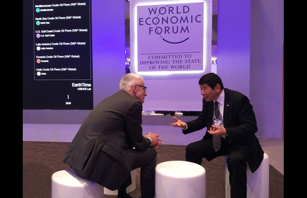 WCO – Secretary General Mikuriya discussing with Secretary General of Interpol, Jürgen Stock at Davos