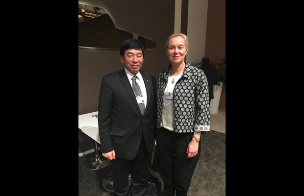 Secretary General Mikuriya with the Minister of Foreign Trade and Development Cooperation of Netherlands, Ms. Sigrid Kaag
