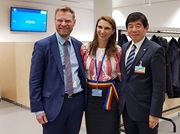 [From r. to l.] WCO Secretary General Kunio Mikuriya, member of the Romanian EU Presidency team Raluca Mocanescu, and DG TAXUD Director General Stephen Quest