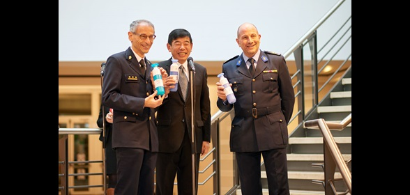 From left to right: Kristian Vanderwaeren, Kunio Mikuriya andt Alain Bellot holding 100% recyclable and reusable water bottles that delegates can be fill with filtered tap water