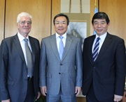 The Secretaries General of the International Civil Aviation Organization (ICAO), Raymond Benjamin, International Maritime Organization (IMO), Koji Sekimizu, and the World Customs Organization (WCO), Kunio Mikuriya at IMO headquarters in London. Courtesy © IMO.