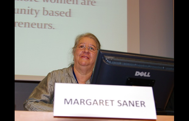 Margaret Saner, Vice President of the United Nations Committee of Experts on Public Administration, delivering a keynote address