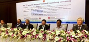 From right to left, the guest speakers: Mr. Masato Watanabe, Japanese Ambassador to Bangladesh; Dr. Kamal Uddin Ahmed, Secretary, Ministry of Home Affairs; WCO Secretary General Mikuriya; Mr. M.A. Mannan, State Minister of Ministry of Finance and Ministry of Planning - Chief Guest of the Ceremony; Mr. Nojibur Rahman, Chairman of the NBR; and Mr. Shubhashish Bose, Secretary, Ministry of Commerce.