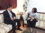 WCO Secretary General Kunio Mikuriya during his meeting with the Chairman of India's Central Board of Excise and Customs (CBEC),  Ms. Vanaja N. Sarna