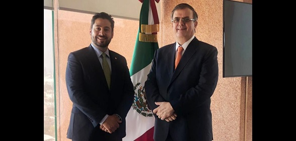 WCO Deputy Secretary General Ricardo Treviño Chapa and Foreign Secretary of Mexico Marcelo Ebrard Casaubón during their meeting on 10 July 2019 in Mexico City