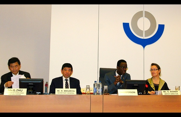 The Chairperson of the Permanent Technical Committee, François Abouzi from Togo Customs, and the Secretary General of the WCO, Kunio Mikuriya, during the 200th Session of the Committee