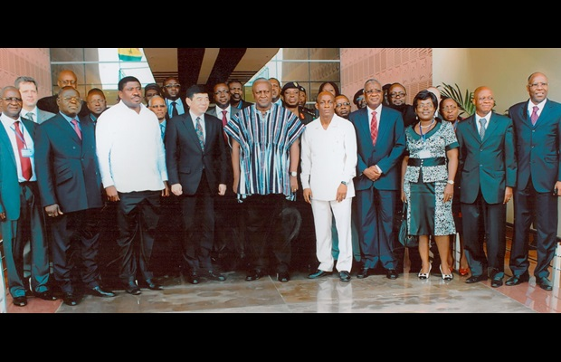 The President of Ghana, H.E. John Dramani Mahama, with the Secretary General of the WCO, Kunio Mikuriya, and participants attending the WCO West and Central Africa Regional Meeting of Customs Directors General in Accra