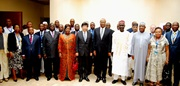 WCO Secretary General Mikuriya, with, on his left side, Mr. Philemon Yang, Prime Minister of Cameroon, Mr. Alamine Ousmane Mey, Minister of Finance of Cameroon, and Mr. Dikko Inde Abdullah, Comptroller General of the Nigeria Customs Service and Regional Vice-Chair, and, directly to his right, Mrs. Minette Libom Li Likeng, Director General of Cameroon Customs.