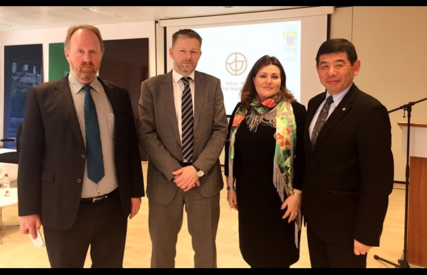 From left to right:  Iceland Customs Director General Mr. Snorri Olsen; Minister of Social Affairs and Equality Mr. Thorsteinn Víglun; HR Managing Director Ms. Unnur Ýr Kristjándóttir, Iceland Customs; and WCO Secretary General Dr. Kunio Mikuriya