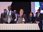 Signature of MRA between East African Community (EAC) and Korea Customs Service (KCS): Mr. Kenneth Bagamuhunda, DG of Customs and Trade, EAC; Mr. Sukhwan Roh, Vice Commissioner, KCS; and Dr. Kunio Mikuriya, WCO Secretary General