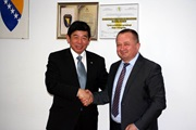 WCO Secretary General Mikuriya and Mr. Miro Džakula, Director General of the Indirect Taxation Authority (ITA) during their meeting on 2 March 2018