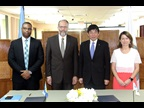 Ambassador LaRoque and WCO Secretary General Kunio Mikuriya at the signature ceremony
