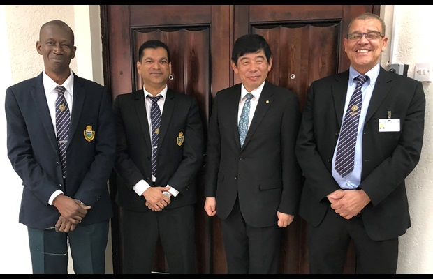 Dr. Kunio Mikuriya, WCO Secretary General together with Mr. Godfrey Statia, Commissioner General of Guyana Revenue Authority (GRA) and his management team