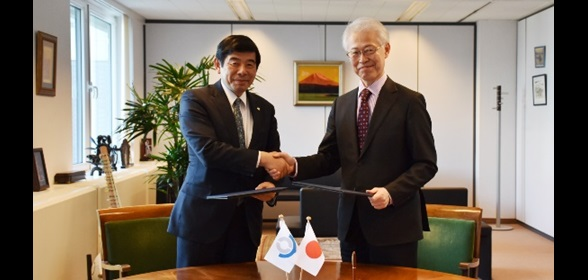 WCO Secretary General Dr. Kunio Mikuriya and Japanese Ambassador to Belgium H.E. Mr. Hajime Hayashi meet at the WCO Headquarters to exchange a Note Verbale on the Government of Japan's continuing financial contribution to the WCO Security Project in the Asia/Pacific region