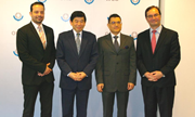 WCO Secretary General Kunio Mikuriya and Deputy Secretary General Sergio Mujica together with Costa Rica's Vice-Minister of Foreign Trade Jhon Fonseca and the Ambassador of Costa Rica H. E. Istvan Alfaro Solano