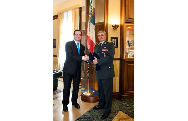 WCO Deputy Secretary General Sergio Mujica and Commanding General Saverio Capolupo at the Guardia di Finanza Headquarters in Rome, Italy, on 19 and 20 May 2015.