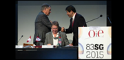 Dr Bernard Vallat , OIE Director General, and Dr Karin Schwabenbauer, President of the World Assembly of Delegates of the OIE, after the speech by WCO Secretary General Kunio Mikuriya