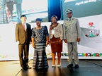 From left to right: WCO Secretary General Mikuriya, Nigeria's Minister of Finance Okonjo-Iweala, Director General of Cameroon Customs Libom Li Likeng, and Comptroller General of the Nigeria Customs Service Abdullahi.