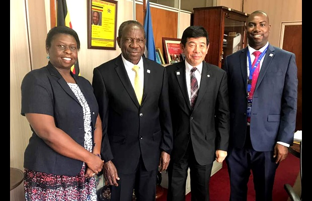 From left to right: Ms. Doris Akol, Commissioner General of the Uganda Revenue Authority, Hon. Matia Kasaija, Minister of Finance, Planning and Economic Development, Dr. Kunio Mikuriya, WCO Secretary General, and Mr. Dicksons Kateshumbwa, Commissioner of Uganda Customs
