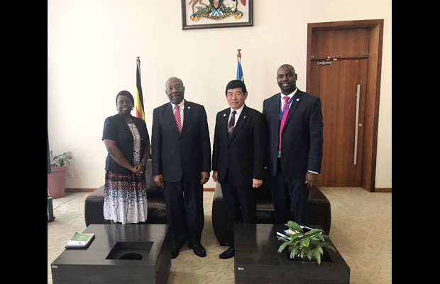 From left to right: Ms. Doris Akol, Commissioner General of the Uganda Revenue Authority, H.E. Hon. Ruhakana Rugunda, Prime Minister of Uganda, Dr. Kunio Mikuriya, WCO Secretary General, and Mr. Dicksons Kateshumbwa, Commissioner of Uganda Customs