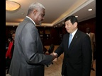 AU Commission Chairperson Moussa Faki Mahamat and WCO Secretary General Kunio Mikuriya