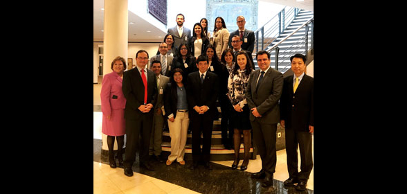 Group photo of the 13 participants in the 72nd fellowship Programme intended for Spanish-speakers together with the WCO Secretary General, the Deputy Secretary General and the three Directors
