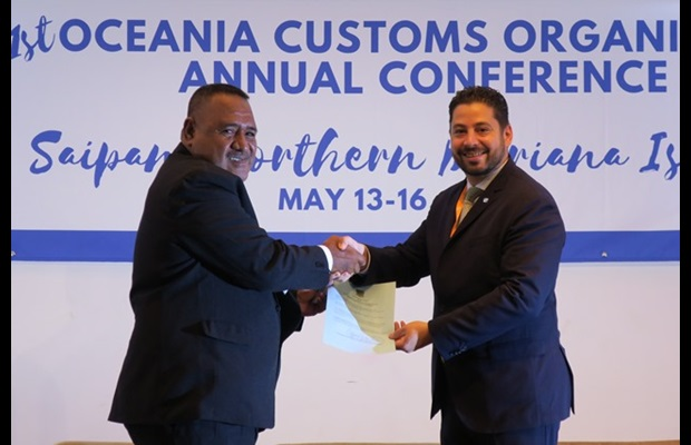 Accession to the RKC by Tuvalu:  Mr. Tuilagi Teii, Director of Tuvalu Customs, presented the accession instrument to WCO DSG