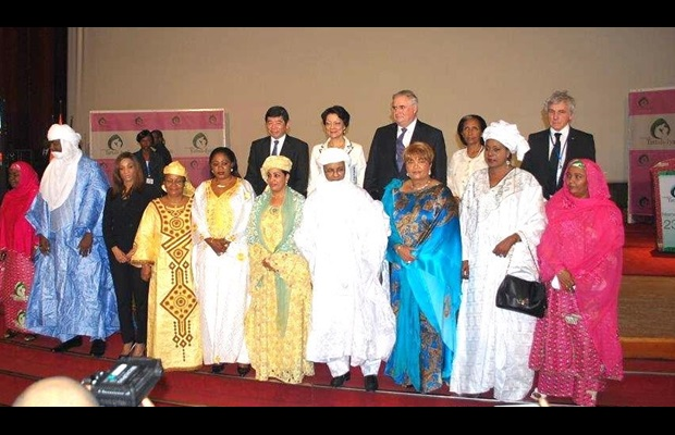 The First Ladies of Burkina Faso, the Central African Republic, Mali, Niger and the Representative of the First Lady of Equatorial Guinea at the Conference.