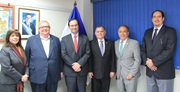 The working meeting with, from left to right, Deisy Reinosa (Director General of Customs), Carlos Caceres (Minister of Finance), Sergio Mujica (WCO Deputy Secretary General), Mauricio Guardado (Vice-Minister of Revenue), Roberto Solorzano (Vice-Minister of Finance) and Gilberto Suria (Director for Operations)