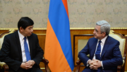 During his visit to Armenia, WCO Secretary General, Mr. Kunio Mikuriya, was received by the President of Armenia, Mr. Serzh Sargsyan.