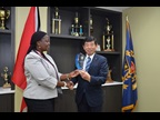WCO Secretary General Kunio Mikuriya and Trinidad and Tobago's Acting Comptroller of Customs Kathy-Ann Matthews