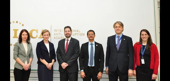 [From l. to r.] Ms. Alexandra Gaintseva, Project Officer (IACA); Ms. Christiane Pohn-Hufnagl, Officer-in-Charge (IACA); Mr. Ricardo Treviño Chapa, WCO Deputy Secretary General, Mr. Pawan Kumar Sinha, Director of Academic Programmes (IACA); Mr. Jaroslaw Pietrusiewicz, Head of External Relations (IACA); and Ms. María Dolores Novella Domínguez, External Relations Department (IACA)