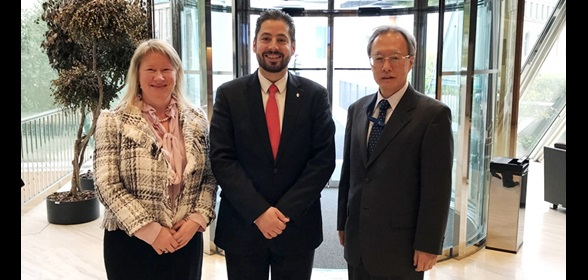 WCO Deputy Secretary General Treviño Chapa with Ambassador Frances Lisson and Ambassador Junichi Ihara, Permanent Representatives to WTO respectively from Australia and Japan