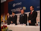 From left to right : Miguel Espinoza, Executive President of FITAC; Juan Fernando Cristo, President of the Senate of Colombia, Guillermo Gonzalez, President of the FITAC Council, and Sergio Mujica, Deputy Secretary General of the WCO